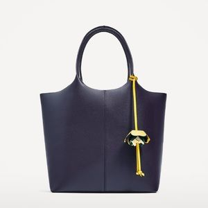ZARA Tote Bag with Flower Pendant Navy Blue NWT